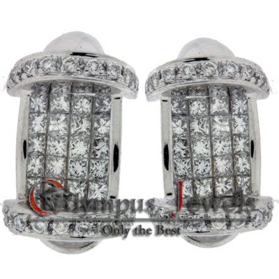 2.02CT 18K WHITE GOLD CUSTOM DIAMOND DESIGNER EARRINGS!